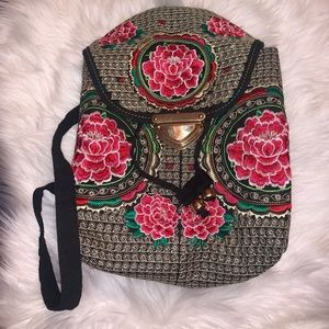 Handbags - Embroidered floral backpack